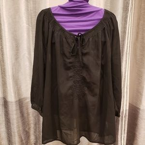 Old Navy Black Tunic Sheer Blouse - Size XL